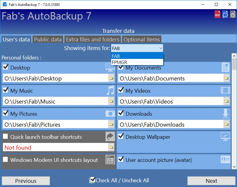 How to transfer profiles using Fab's AutoBackup 7 Pro